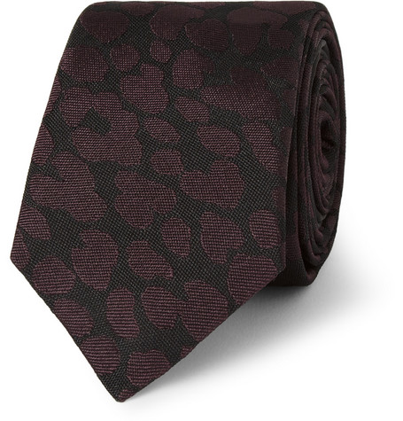 Burberry Prorsum Animal-Patterned Woven-Silk Tie