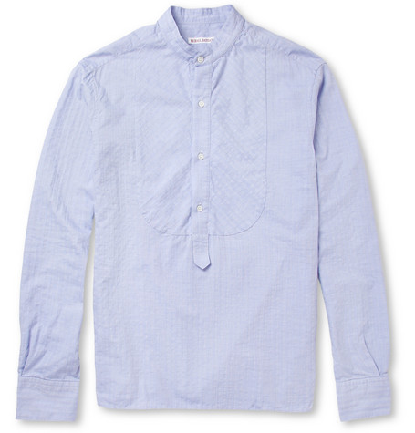Michael Bastian Herringbone Cotton Grandad Collar Shirt