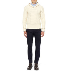 Michael Bastian Hooded Cable-Knit Wool and Cashmere-Blend Sweater
