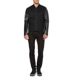 Alexander Wang Bonded-Leather and Wool-Blend Bomber Jacket