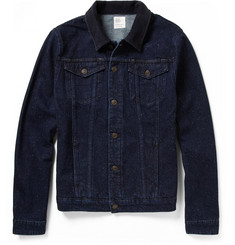 Jean.Machine J.M-4 Corduroy-Collar Slub-Denim Jacket