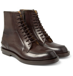 Gucci Burnished Lace-Up Leather Boots