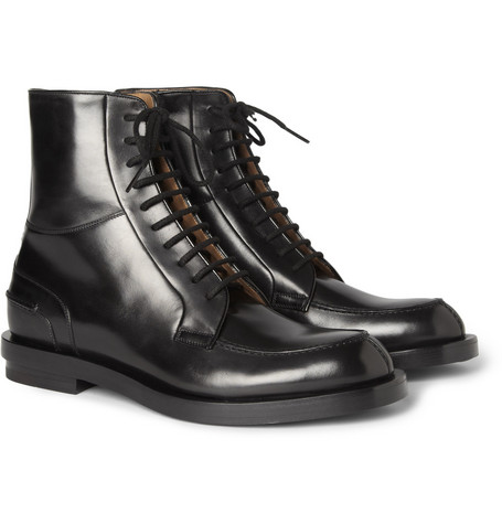 Gucci Leather Split Toe Lace-Up Boots
