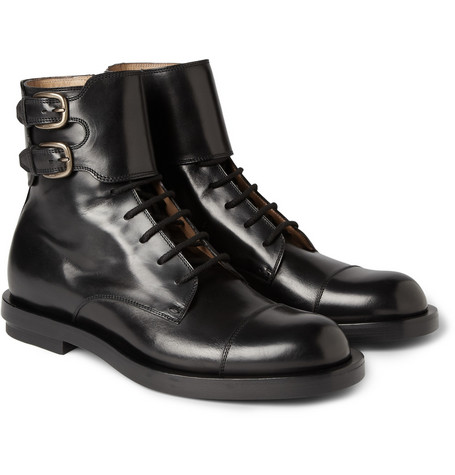 Gucci Buckled Leather Boots