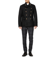 Gucci Slim-Fit Velvet-Trimmed Wool Peacoat