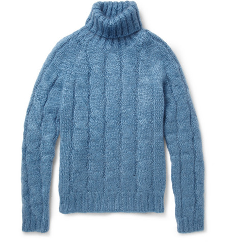 Gucci Cable-Knit Mohair And Silk-Blend Rollneck Sweater