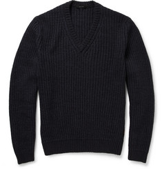 Gucci Ribbed Wool-Blend V-Neck Sweater