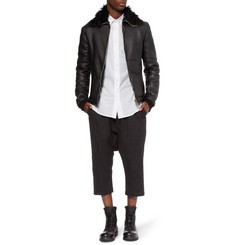 Rick Owens Shearling-Lined Leather Bomber Jacket