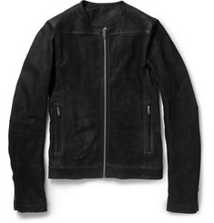 Rick Owens Collarless Leather Jacket