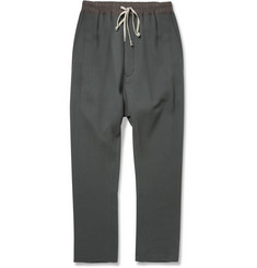Rick Owens Drop-Crotch Wool-Crepe Trousers