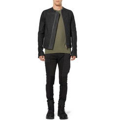 Rick Owens Jersey and Rib-Panelled Denim Cargo Trousers