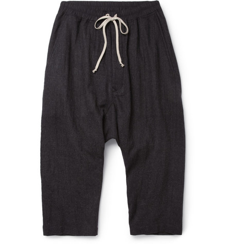 Rick Owens Drop-Crotch Cropped Wool Trousers
