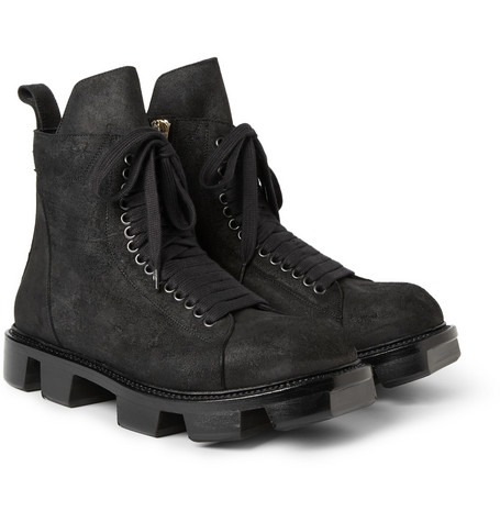 Rick Owens Plinth Distressed Leather Boots