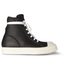 Rick Owens Ramones Shearling-Lined High-Top Leather Sneakers