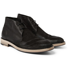 Acne Pedro Distressed-Suede and Leather Desert Boots