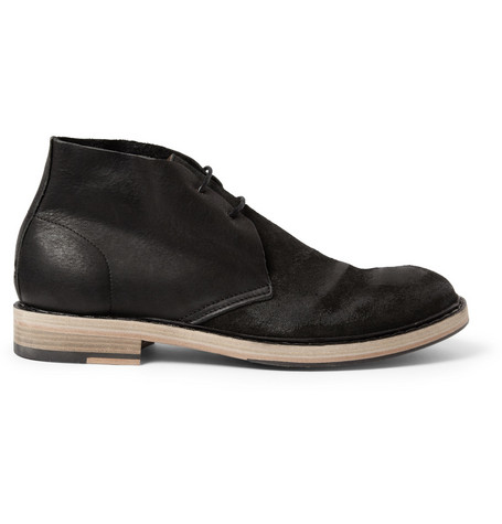 Acne Studios Pedro Distressed-Suede and Leather Desert Boots
