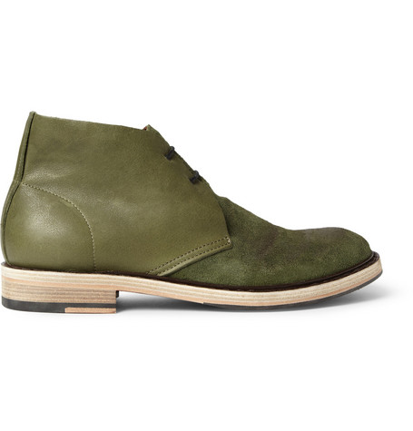 Acne Studios Pedro Burnished Leather and Suede Desert Boots