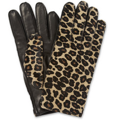 Burberry Prorsum Cashmere-Lined Leather and Calf Hair Gloves