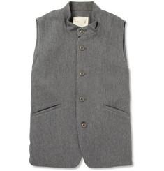 Folk Striped-Trim Canvas Waistcoat