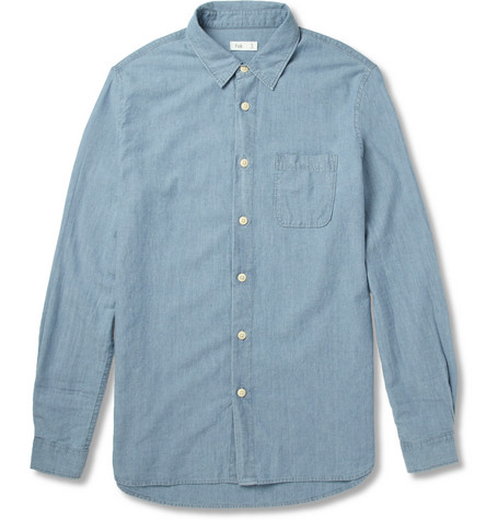 Folk Braid-Trimmed Chambray Shirt