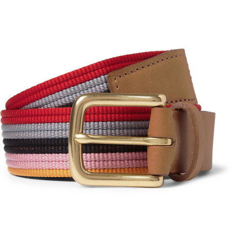 Folk Striped Leather-Trimmed Belt