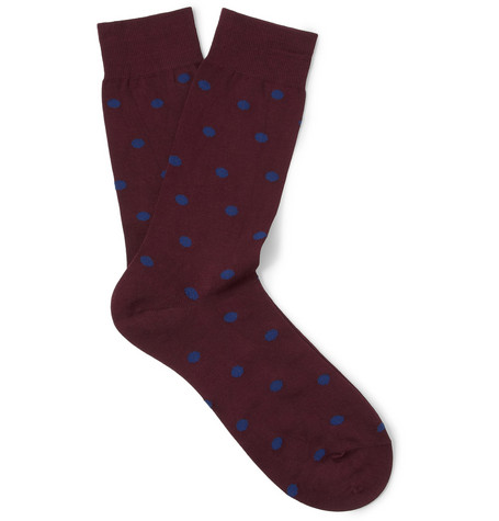 Acne Studios Hockney Polka-Dot Cotton-Blend Socks