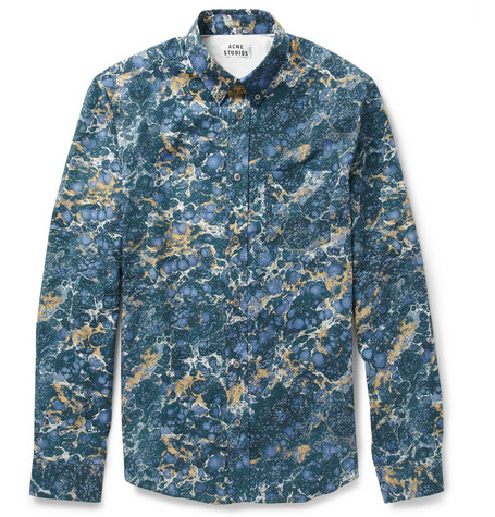 Acne Studios Isherwood Slim-Fit Marble-Print Cotton Shirt