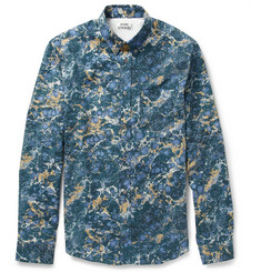 Acne Isherwood Slim-Fit Marble-Print Cotton Shirt