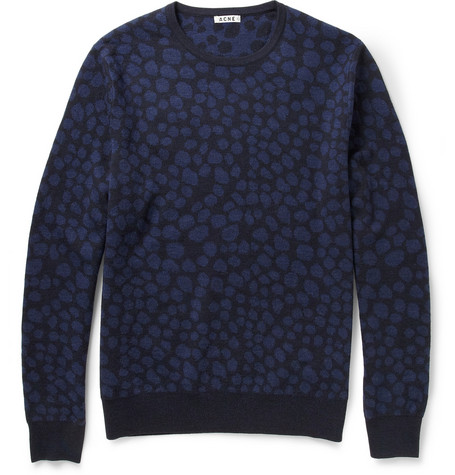 Acne Clissold Animal-Patterned Wool Sweater