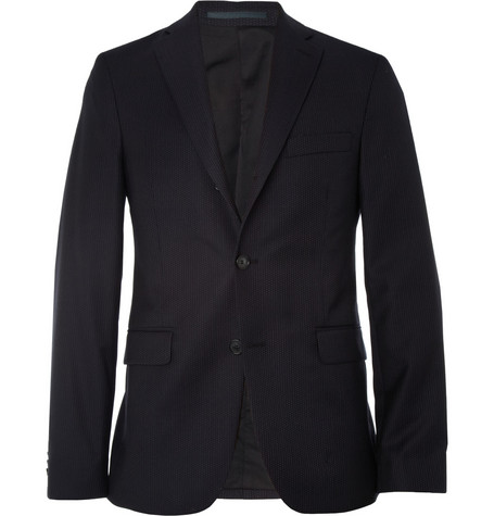 Acne Studios Navy Drifter Slim-Fit Pindot Wool Suit Jacket