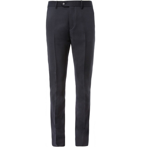 Acne Drifter Slim-Fit Patterned Wool Trousers