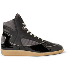 Maison Martin Margiela Patent-Leather, Suede and Twill High Top Sneakers