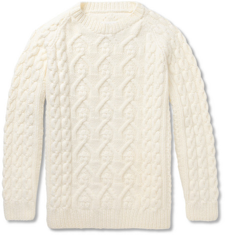 Maison Martin Margiela Chunky Cable Knit Wool Sweater