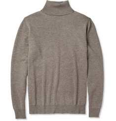 Maison Martin Margiela Leather-Trimmed Wool Rollneck Sweater