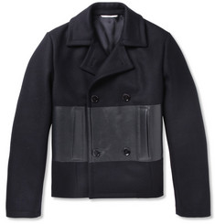 Valentino Bonded Leather-Panelled Wool Peacoat