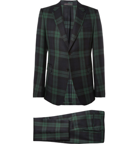 Valentino Slim-Fit Plaid Wool Suit