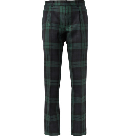 Valentino Tapered Plaid Wool Trousers