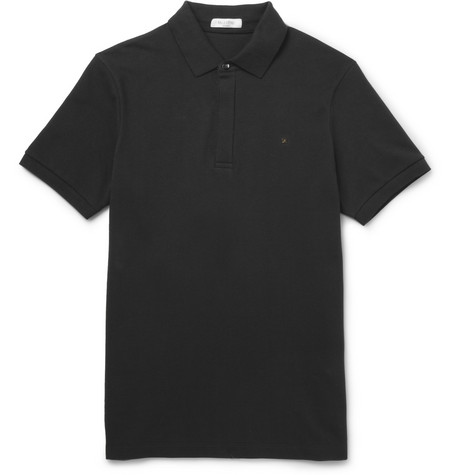 Valentino Studded Cotton-Piqué Polo Shirt