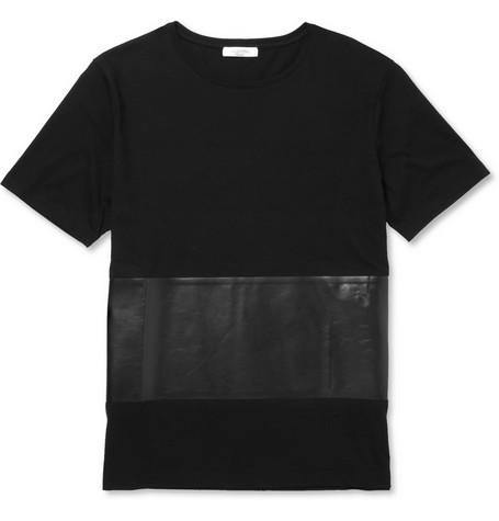 Valentino Cotton and Bonded-Leather T-Shirt