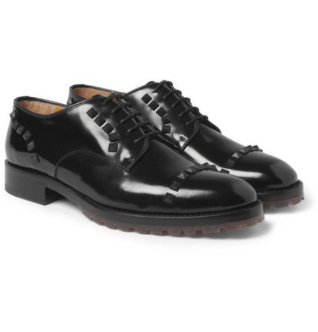 Valentino Studded High-Shine Leather Derby Shoes