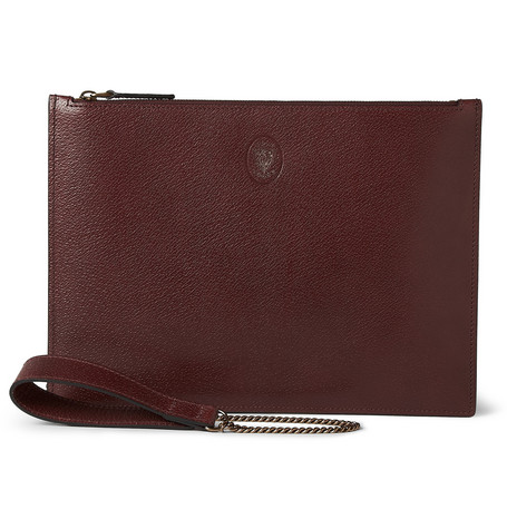 Gucci Detachable Chain Handle Textured-Leather Pouch
