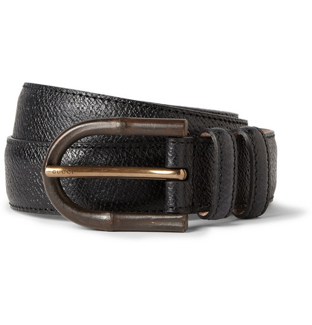 Gucci Bamboo-Detailed Textured-Leather Belt