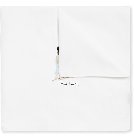 Paul Smith Shoes & Accessories Pin-Up Print Cotton Handkerchief