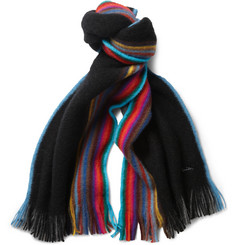 Paul Smith Shoes & Accessories Reversible Striped Wool Scarf