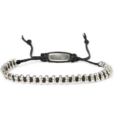 Paul Smith Shoes & Accessories Silver and Waxed-Cotton Bracelet