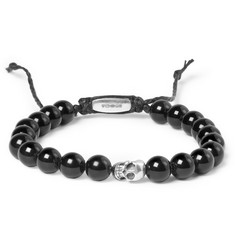 Paul Smith Shoes & Accessories Silver Skull and Glass Bead Bracelet