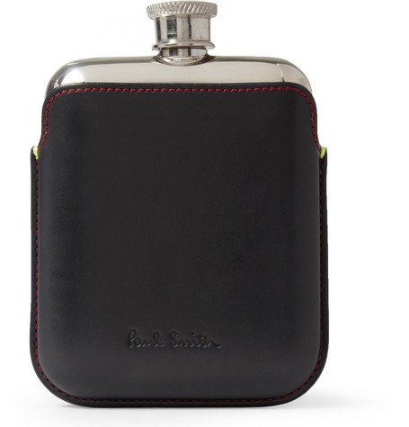 Paul Smith Shoes & Accessories Steel Hip Flask with Leather Case
