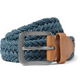 Paul Smith Shoes & Accessories - Leather-Trimmed Waxed Woven-Cotton Belt
