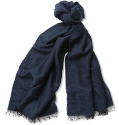 Paul Smith Shoes & Accessories Herringbone Wool and Cotton-Blend Scarf