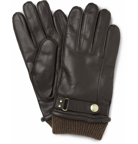 Paul Smith Shoes & Accessories Rib-Knit Cuff Leather Glove